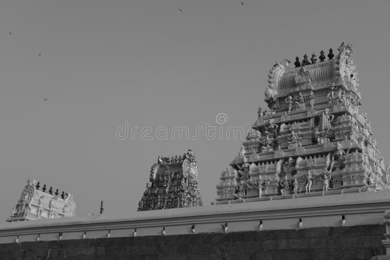 Art and buildings in an ancient Hinduism temple near Kanchipuram, India. Art and buildings found in an ancient Hinduism temple near Kanchipuram, India royalty free stock photo