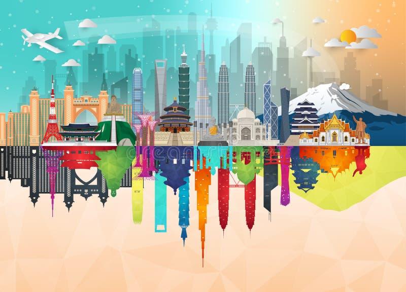 Art c?l?bre de papier de point de rep?re de l'Asie Sac global d'Infographic de voyage et de voyage Calibre plat de conception de  illustration stock