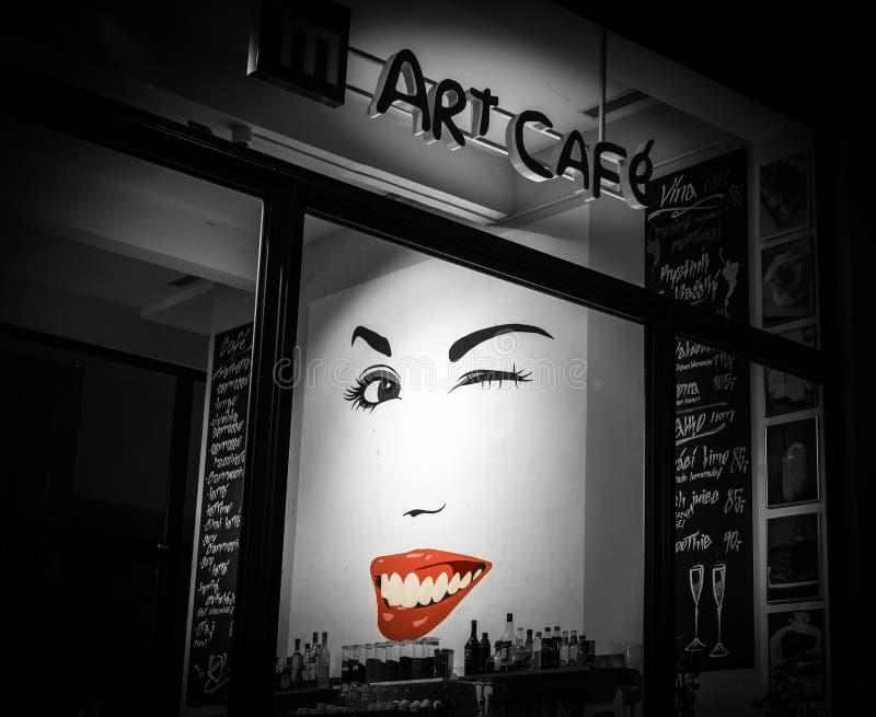 Art Cafe in Praag, Czechia stock foto