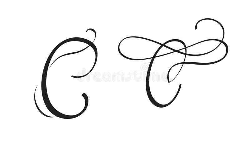 Art Calligraphy Letter C With Flourish Of Vintage