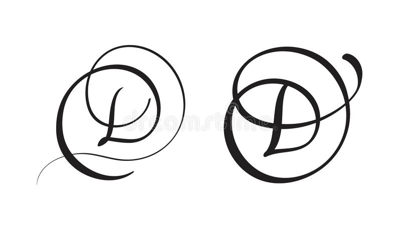 Download Art Calligraphy Letter D With Flourish Of Vintage Decorative Whorls Vector Illustration EPS10 Stock