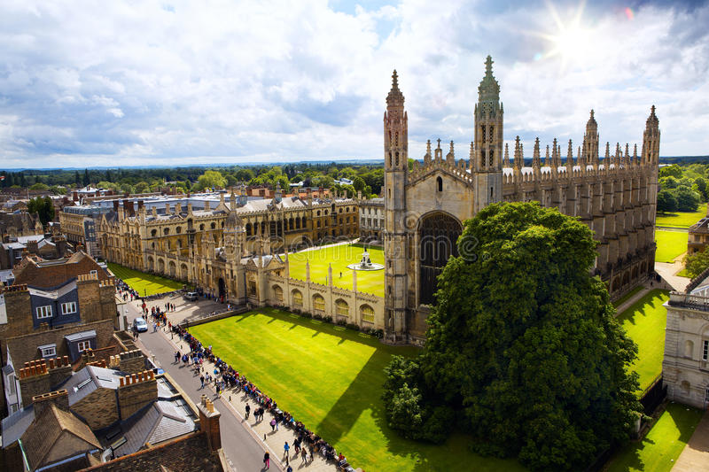 Art Cambridge University och konunghögskolakapell royaltyfri fotografi