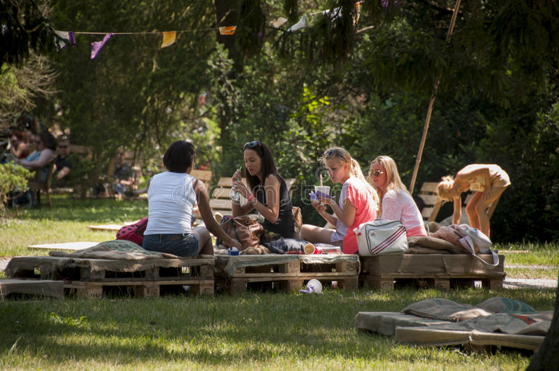 Art camp in Mestni park Maribor, Slovenia, part of traditional annual Lent festival royalty free stock photo