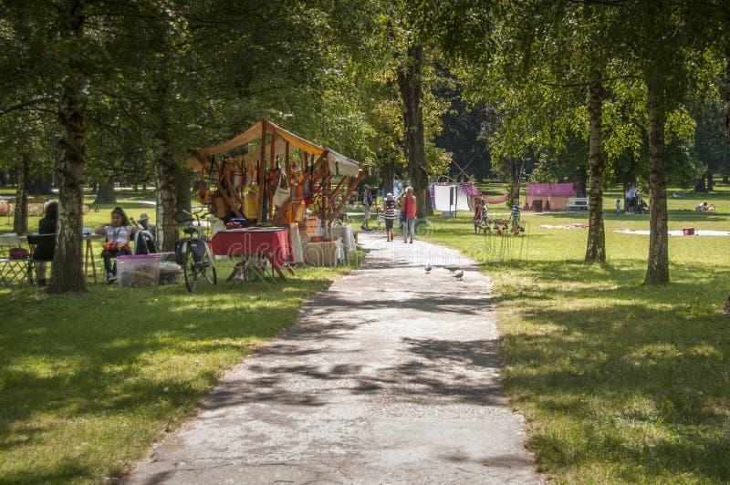 Art camp in Mestni park Maribor, Slovenia, part of traditional annual Lent festival stock image