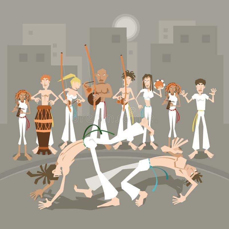 Art Capoeira martial brésilien illustration de vecteur
