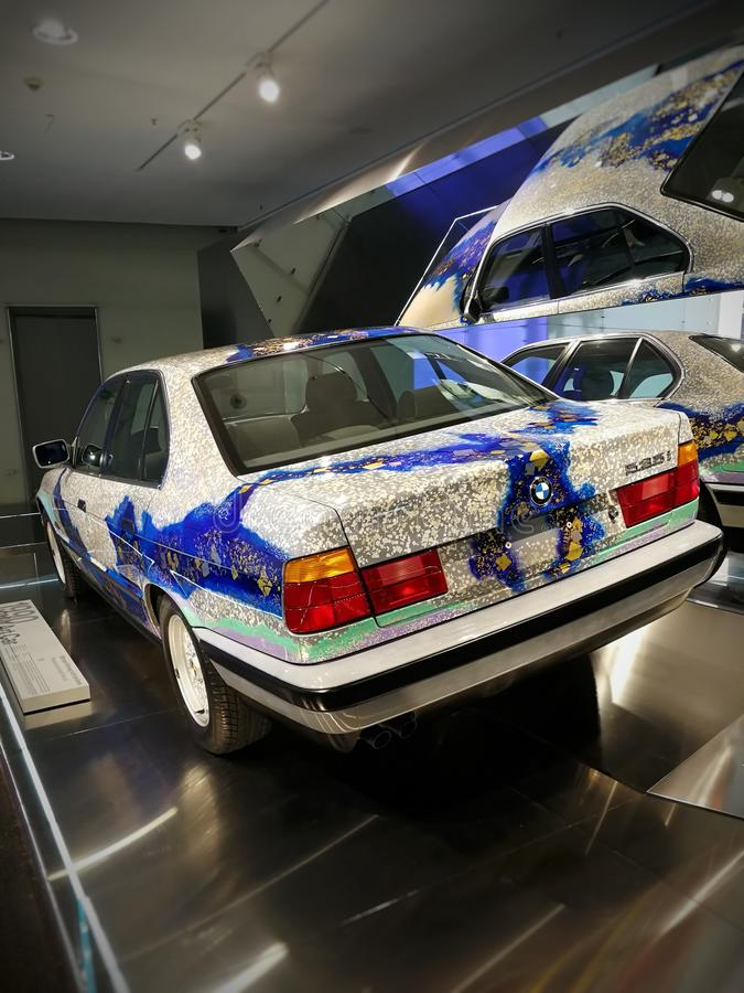 Art car BMW 535i. Exhibit at the BMW Museum in Munich royalty free stock photography