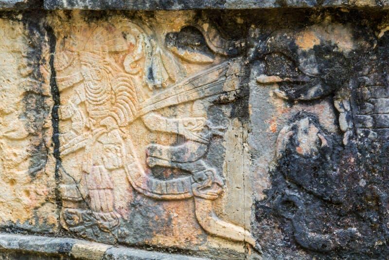 Art Carvings in Mayastadt Chichen Itza lizenzfreies stockfoto