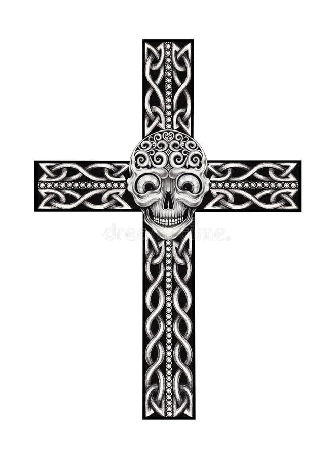 Art Celtic Skull Cross Tattoo ilustração do vetor