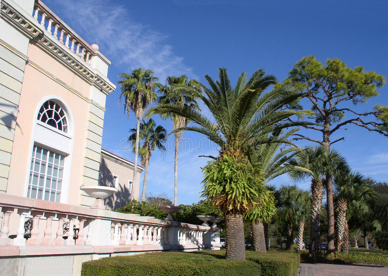 Art Center. Cultural Art Center in Sarasota, Florida, Mediterranean architecture, trees, palms, tropical greenery royalty free stock photo