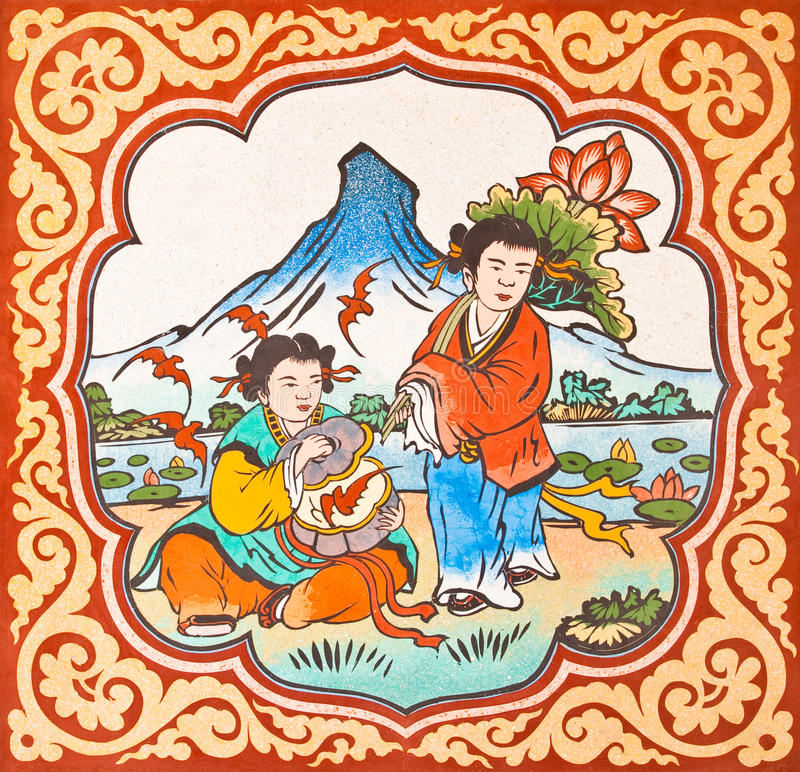 Art Chinese Style Painting On The Wall In Temple Royalty Free Stock Images