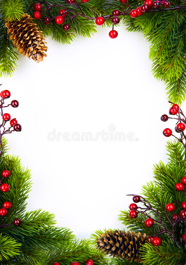 Free Art Christmas Frame With Fir And Holly Berry On White Paper Ba Stock Photos - 34804833