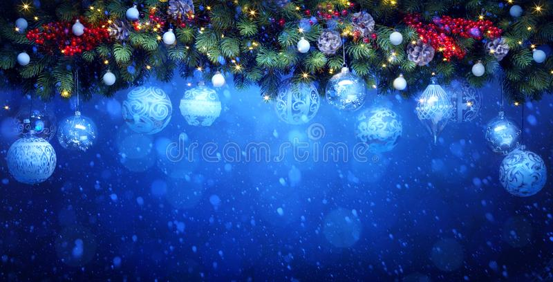 Art Christmas holidays decoration; Fir tree Branches and white royalty free stock photo