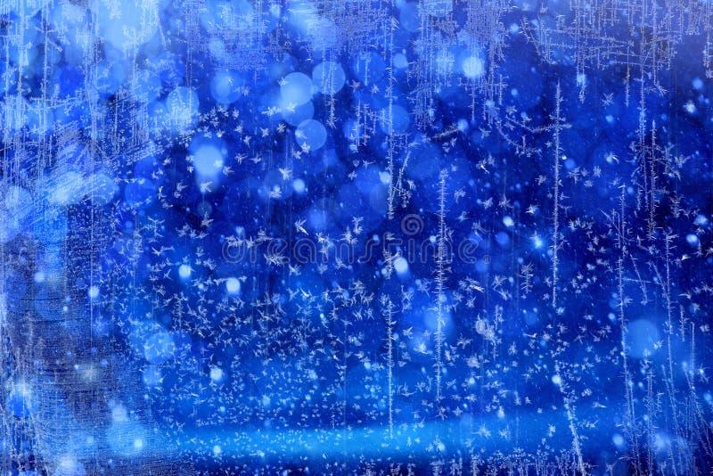 Art Christmas Lights op blauwe achtergrond royalty-vrije stock afbeeldingen