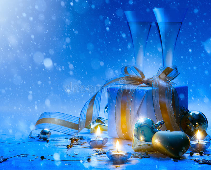 Art Christmas and New Year party; champagne, gift stock image