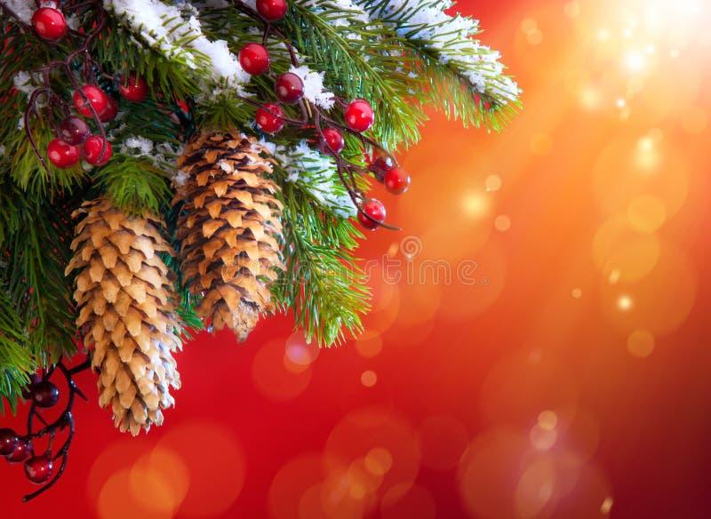 Art Christmas snowy tree stock photography