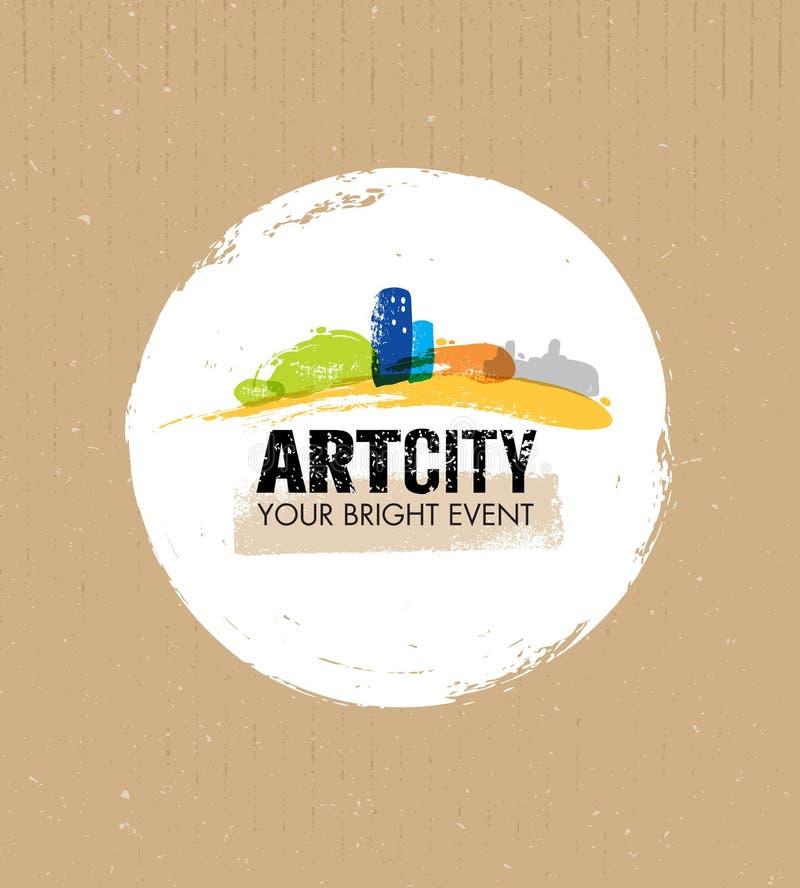 Art City Creative Event Vector-Konzept auf Beschaffenheits-Papphintergrund lizenzfreie abbildung