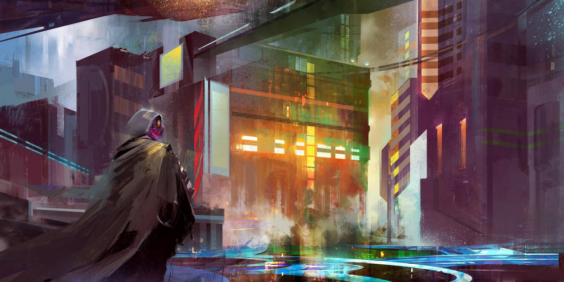 Urban landscape of the future cyberpunk. Art city future cyberpunk man stock image