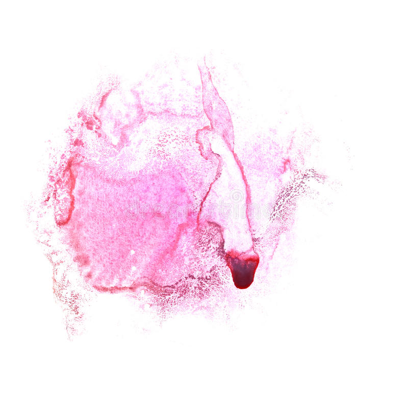 Art Claret, chiazza rosa della pittura dell'inchiostro dell'acquerello illustrazione di stock