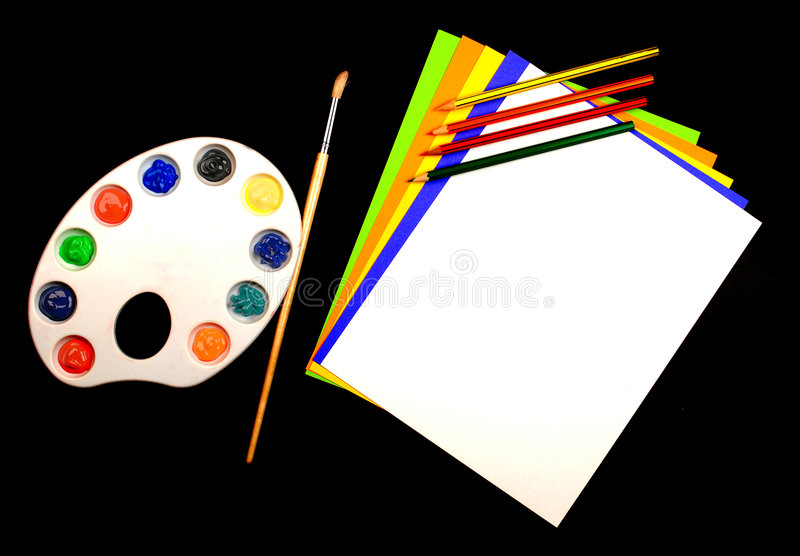 Art Class. This is a picture of different art supplies used in the average childs art class royalty free stock image