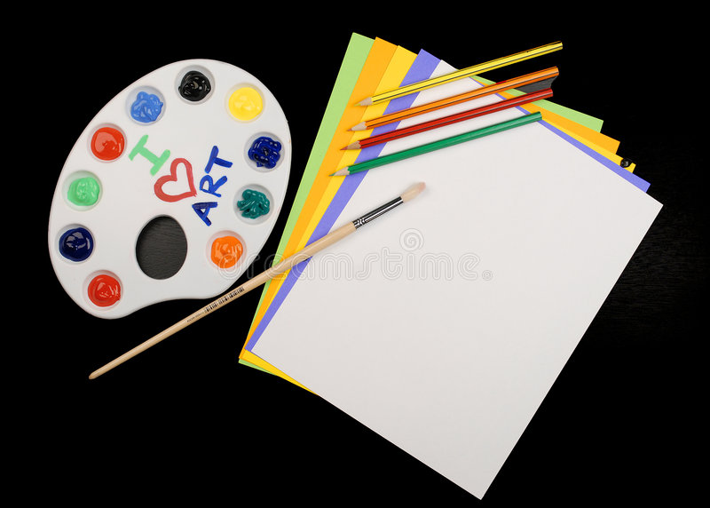 Art Class. This is a picture of different art supplies used in the average childs art class stock photo