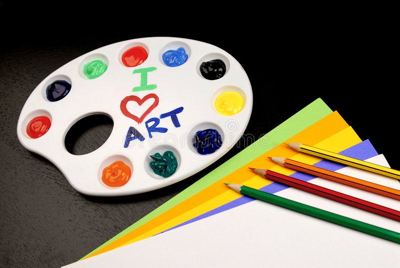 Art Class. This is a picture of different art supplies used in the average childs art class royalty free stock photos