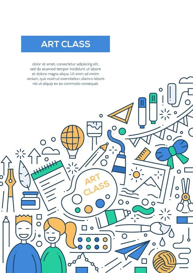 Art Class - het malplaatje van de de brochureaffiche van het lijnontwerp A4 stock illustratie
