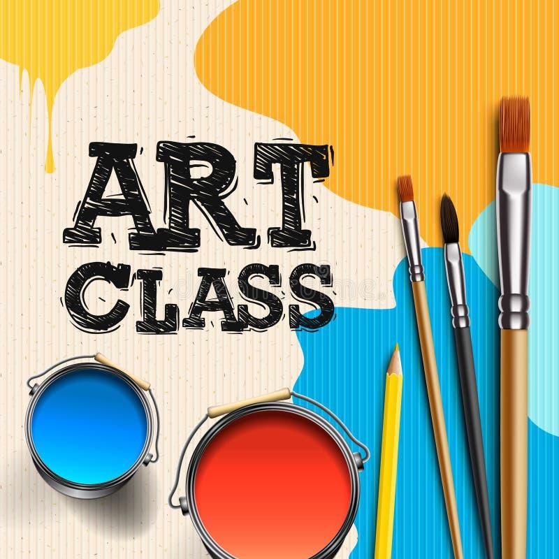 Art Class, Workshop Template Design. Kids art craft, education, creativity class concept, vector illustration. royalty free illustration