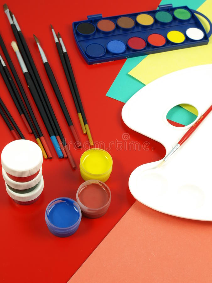 Download Art classes stock image. Image of children, paint, brushes - 26326739