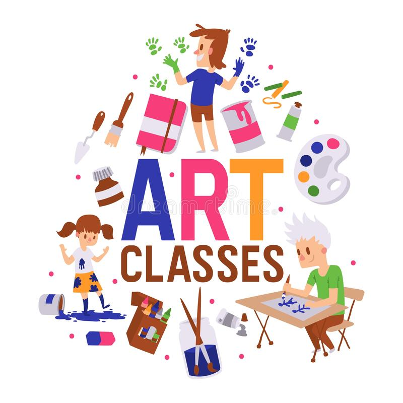 Art classes banner vector illustration. Girl and boys drawing, painting, sketching on with equipment. Education. Enjoyment concept. Pencils, watercolor stock illustration