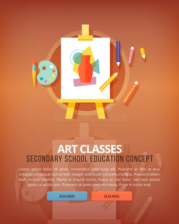 Art classes. Visual art gallery. Education and science vertical layout concepts. Flat modern style. royalty free illustration