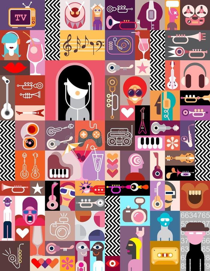 Art Collage/Art Composition illustrazione di stock