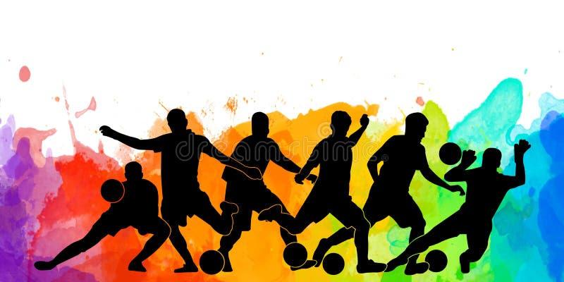Art coloful d'affiche de carte de bannière de conception d'illustration de fond coloré de silhouette de ballon de football de jou illustration de vecteur
