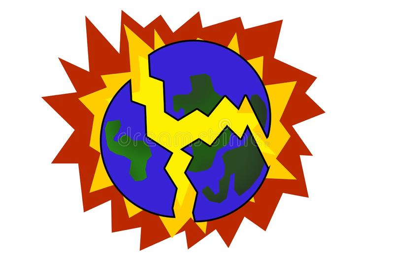 Color planet earth explode vector illustration