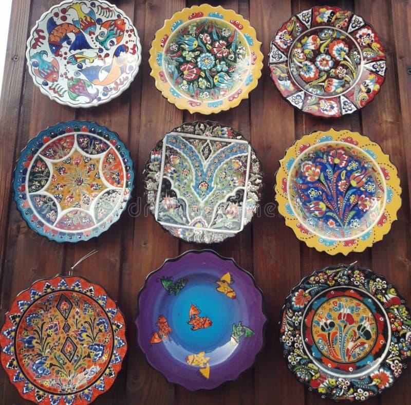 Art Colorful plattor royaltyfri foto