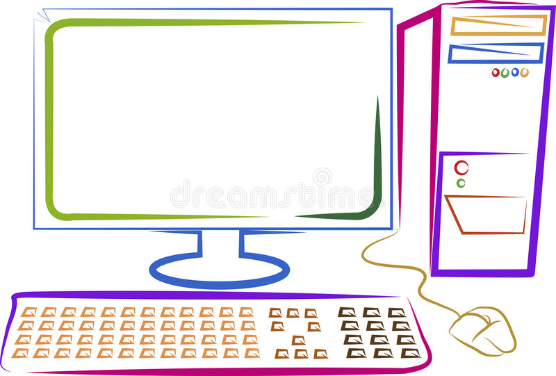 Art computer. Illustration drawing of a art computer with isolated background vector illustration