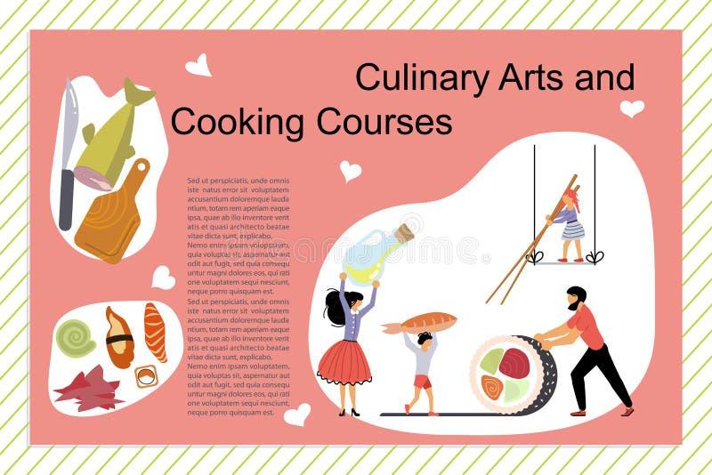 Art And Cooking Courses Poster culinaire illustration libre de droits