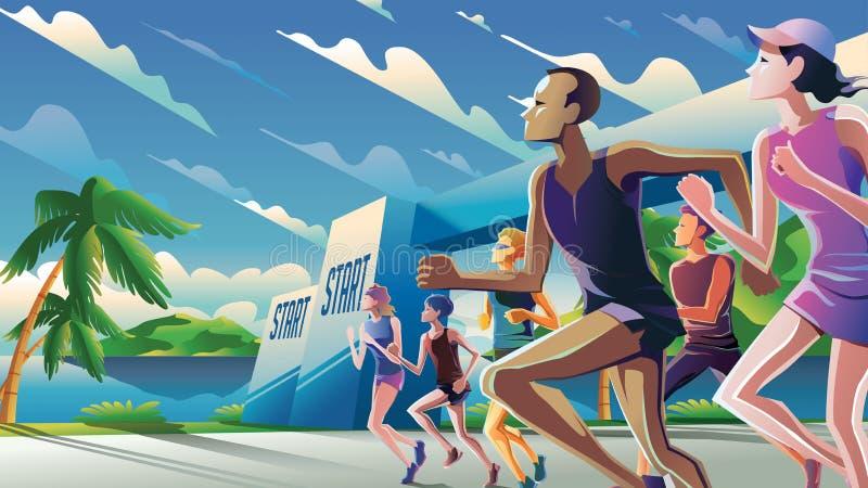 Art courant de thème de marathon dans le vecteur illustration stock