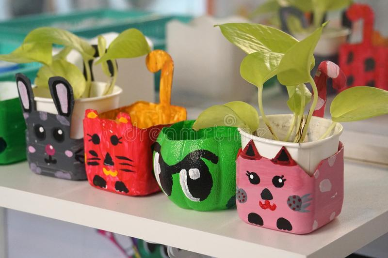 Art and craft design kid toys from recycle materials royalty free stock images