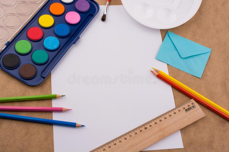 Art & Craft equipment. On a wooden table stock photo