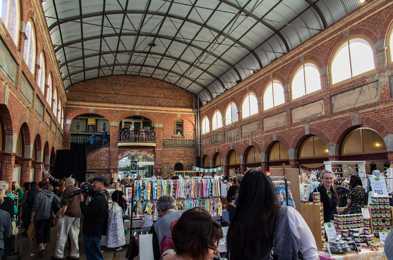 Art and craft market in Ballarat Mining Exchange. An art and craft market inside the old Mining Exchange building in Ballarat, Australia stock image