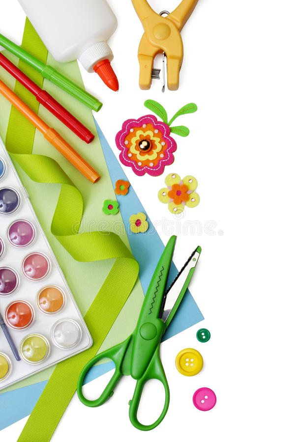 Art and craft supplies, with copy space stock photo