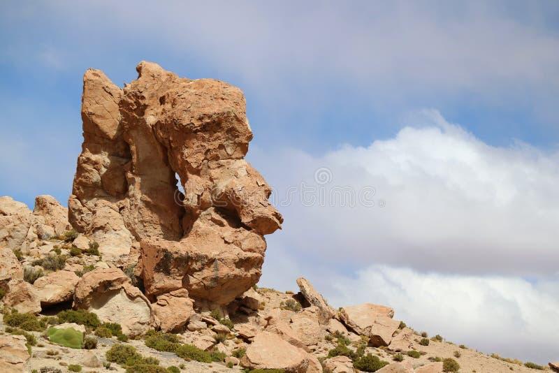 Art Created par la nature, une de formations de roche étonnantes incomptables dans le désert de Siloli, Bolivien Altiplano, Potos images libres de droits