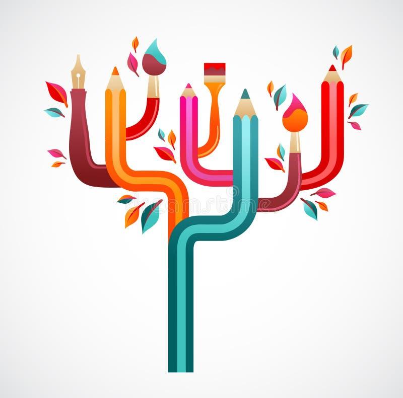 Art and creation tree, concept illustration vector illustration