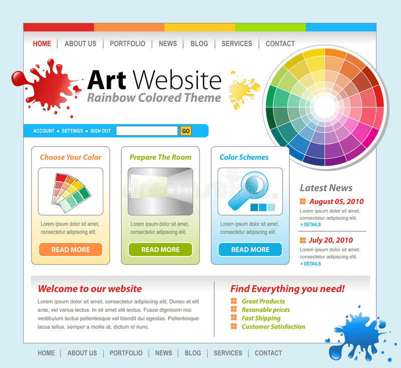 Art Creative Paint Website Template Design stock illustration