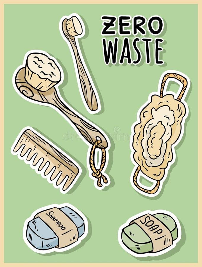 Art?culos materiales naturales de la ducha Producto ecol?gico y de la cero-basura Casa verde y vida pl?stico-libre stock de ilustración