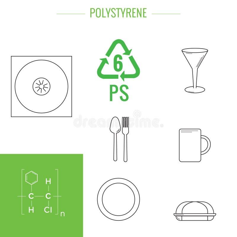Art?culos reciclables pl?sticos del vector ilustración del vector