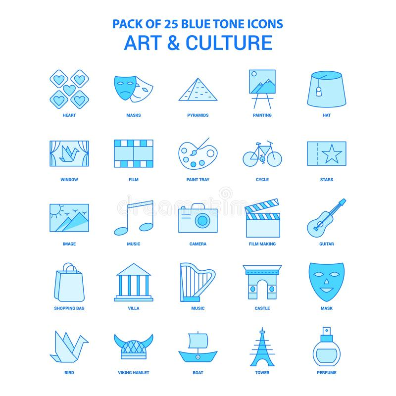 Art and Culture Blue Tone Icon Pack - 25 Icon Sets. This Vector EPS 10 illustration is best for print media, web design, application design user interface and royalty free illustration