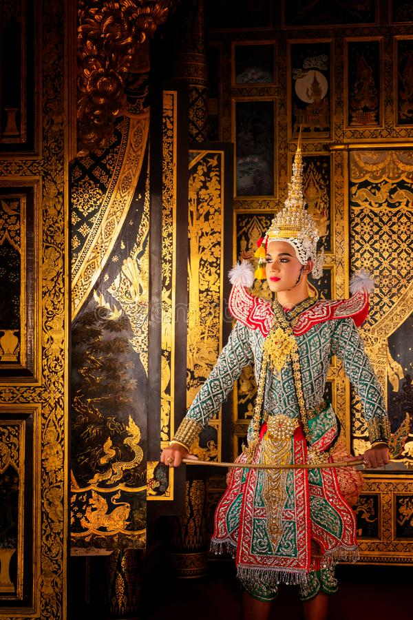 Art culture Thailand Dancing in masked khon in literature ramayana,Thai classical monkey masked, Khon,Thailand. Art culture Thailand Dancing in masked khon in royalty free stock photography