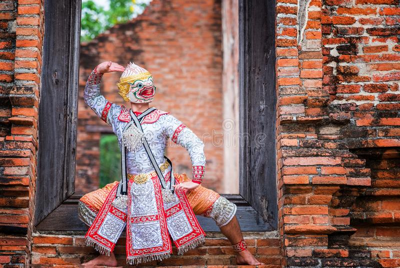 Art culture Thailand Dancing in masked khon in literature ramayana,Thai classical monkey masked, Khon,Thailand royalty free stock images