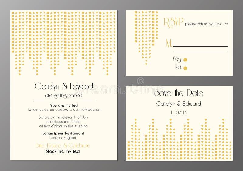 Art déco épousant l'ensemble d'invitation illustration de vecteur